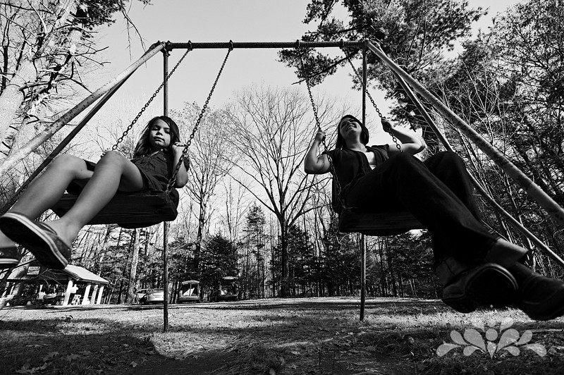 b&w: on the swings