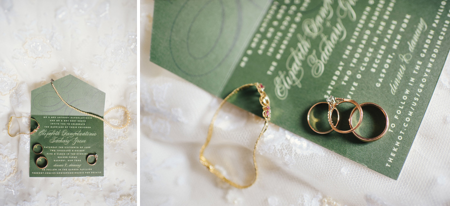 invitation suite with bride's jewlery