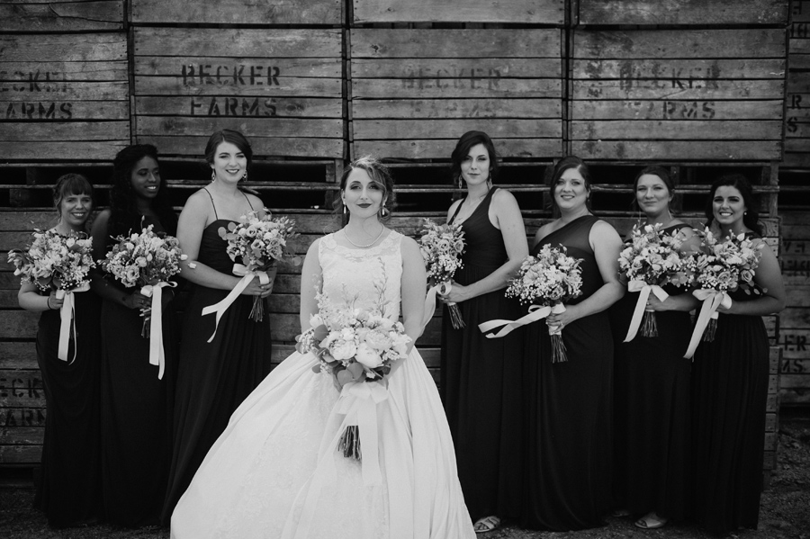 black and white of bride and bridal party