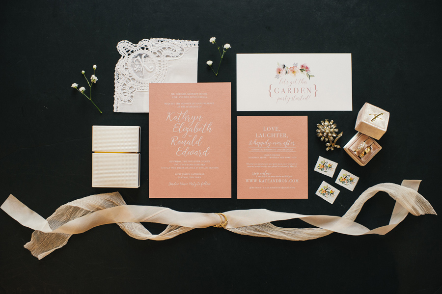 wedding invitation suite in peach and ivory