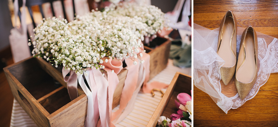baby's breath flowers and bride's gold shoes