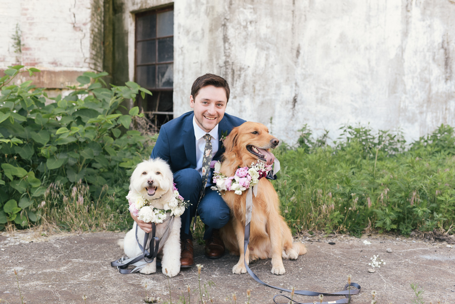 groom posing with his dogs who wear flower collars