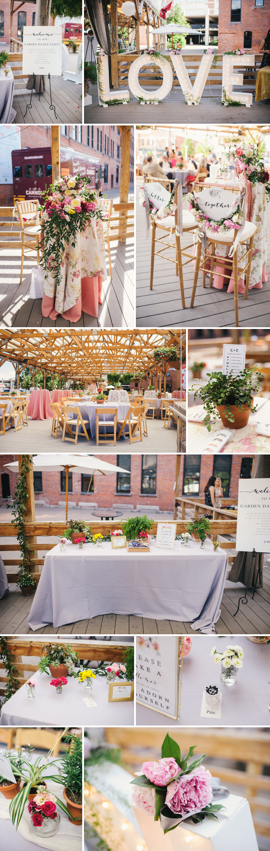 reception decor with flowers from west wind floral at larkin square
