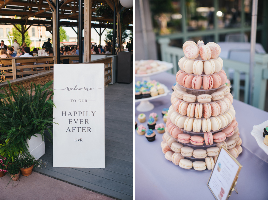 pink and peach macaron tower from blue eyed baker