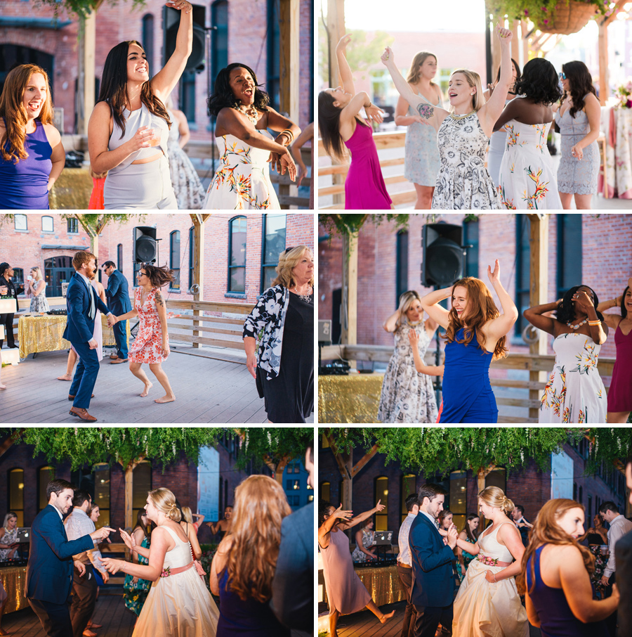 wedding guests dancing at the larkinville reception