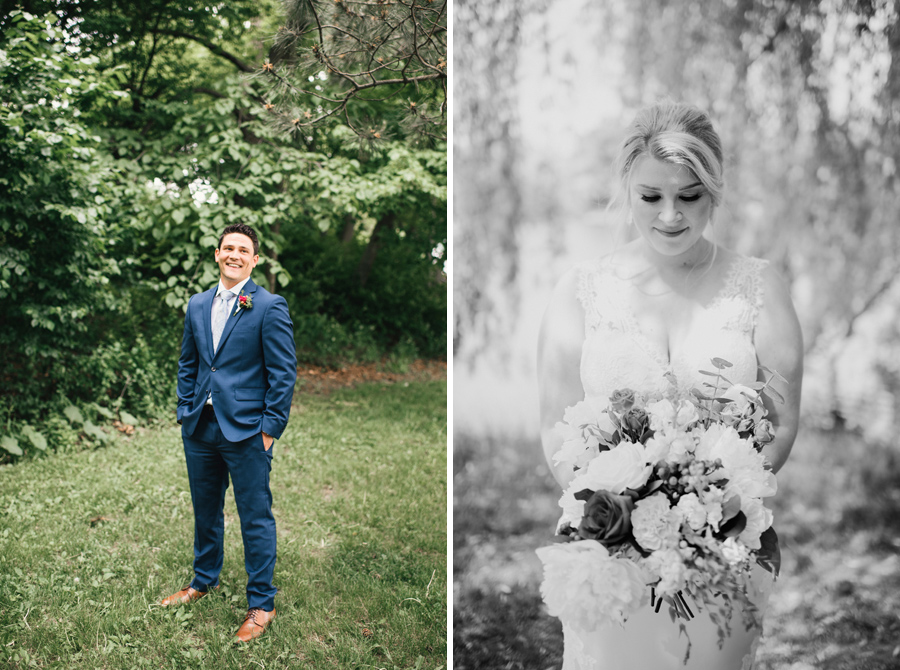 side by side portraits of the bride and groom