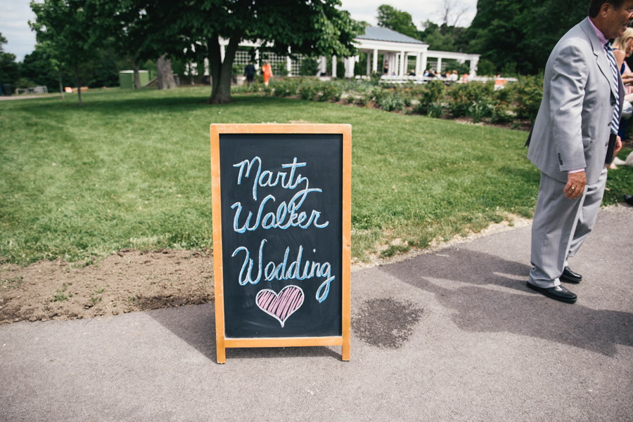 wedding sign at delaware park rose garden