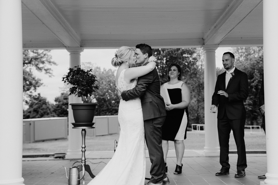 black and white of bride and groom i do kiss