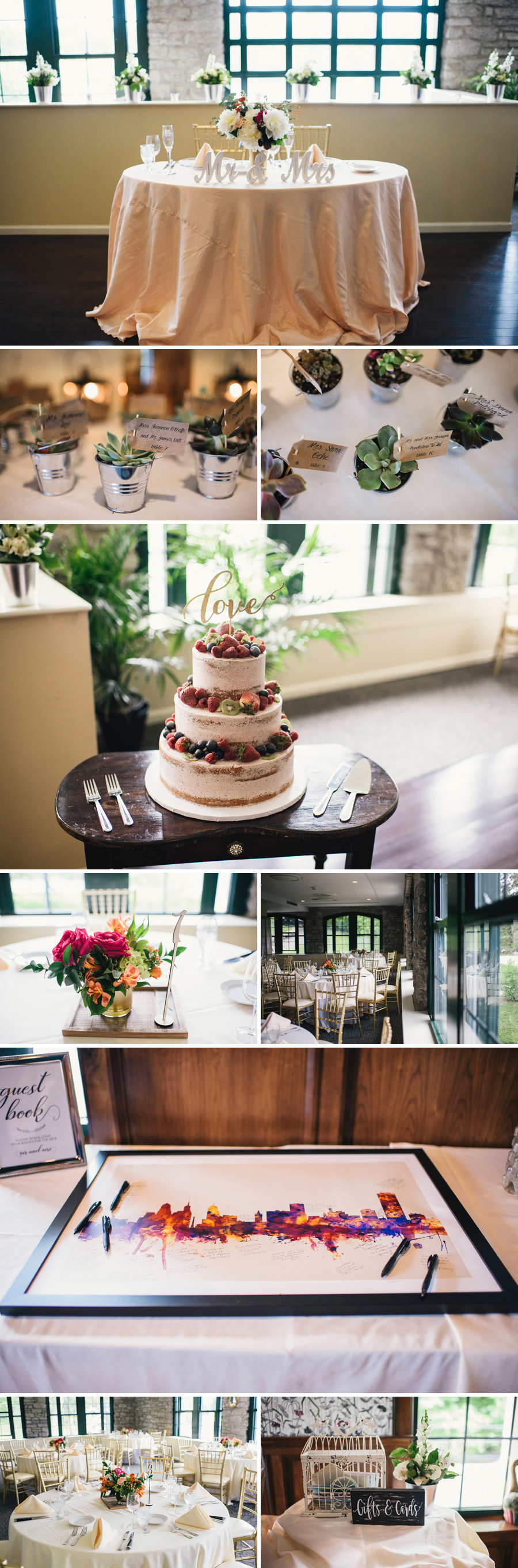 reception decor inside marcy casino with cake and succulent favors
