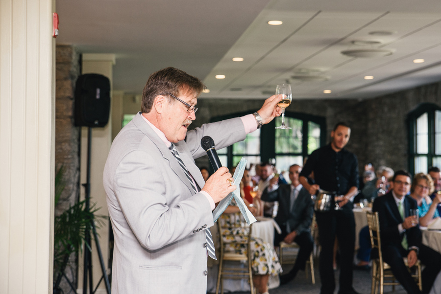 father of the friend toasting during his speech