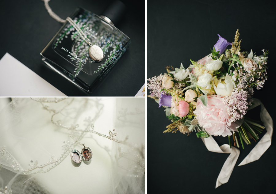 details of the bride's locket necklace and bouquet from wild blossom hollow