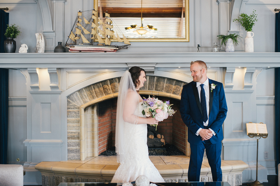 bride and groom's first look at reikart house hotel