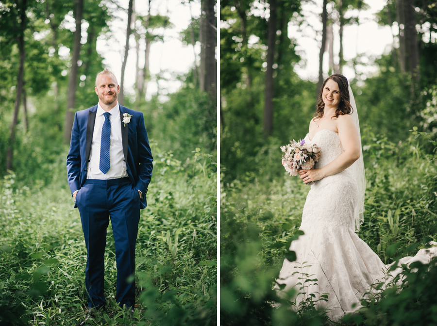 side by side portraits of the bride and groom at delaware park
