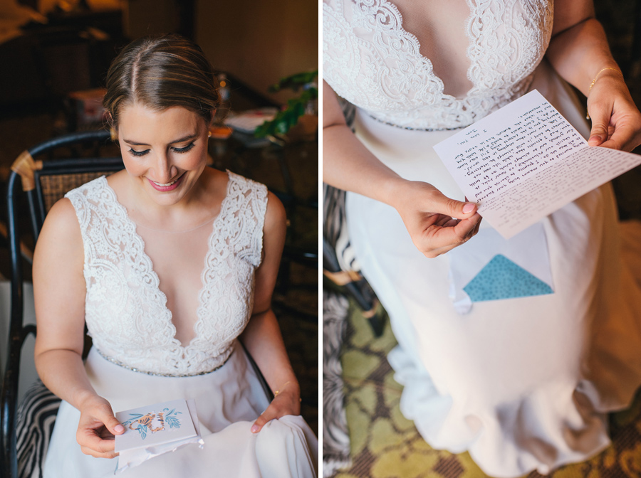 bride opening a card from the groom next to a close up shot of her reading the message inside