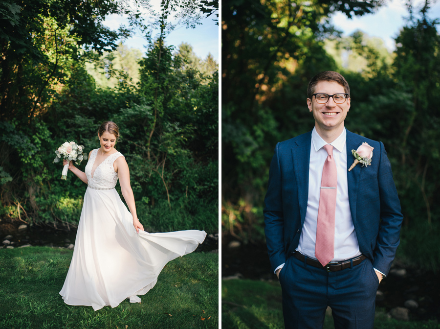side by side portraits of the bride twirling her dress and the groom smiling at the camera