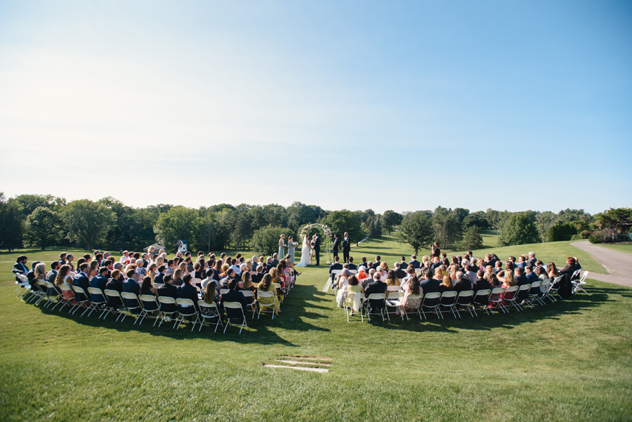 full shot of entire ceremony space on a golf course