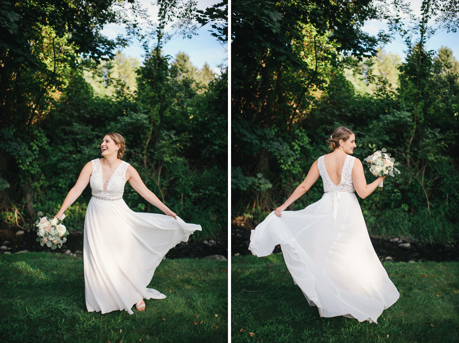 side by side portraits of the bride spinning and twirling her dress