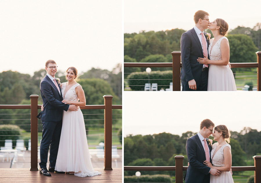 three shots of bride and groom standing together on an outside deck while the sun goes down