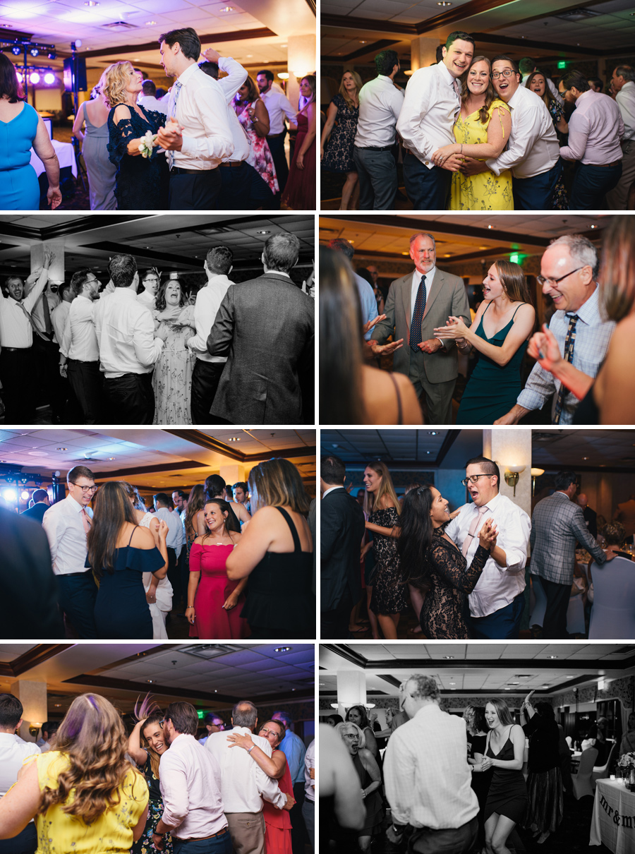 series of 8 dance floor shots from wedding reception