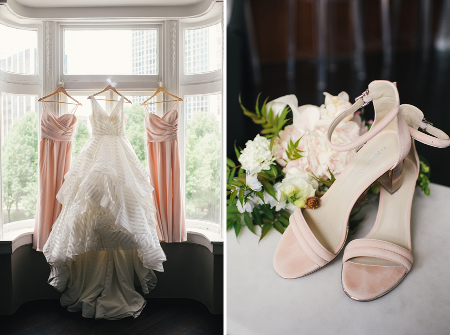 side by side shot of bride and bridesmaid gowns next to bridal shoes and bouquet
