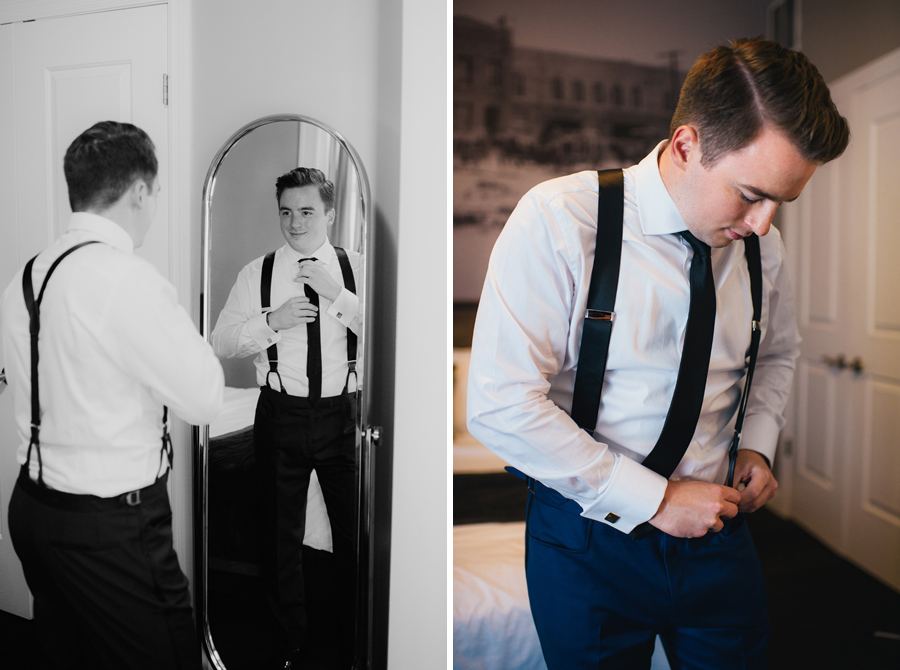 side by side portraits of the groom getting dressed