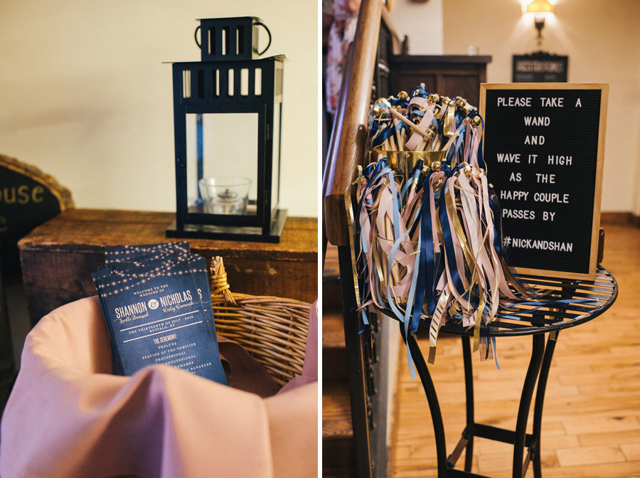 detail shots of the ceremony programs and ribbon wands in blush and navy colors