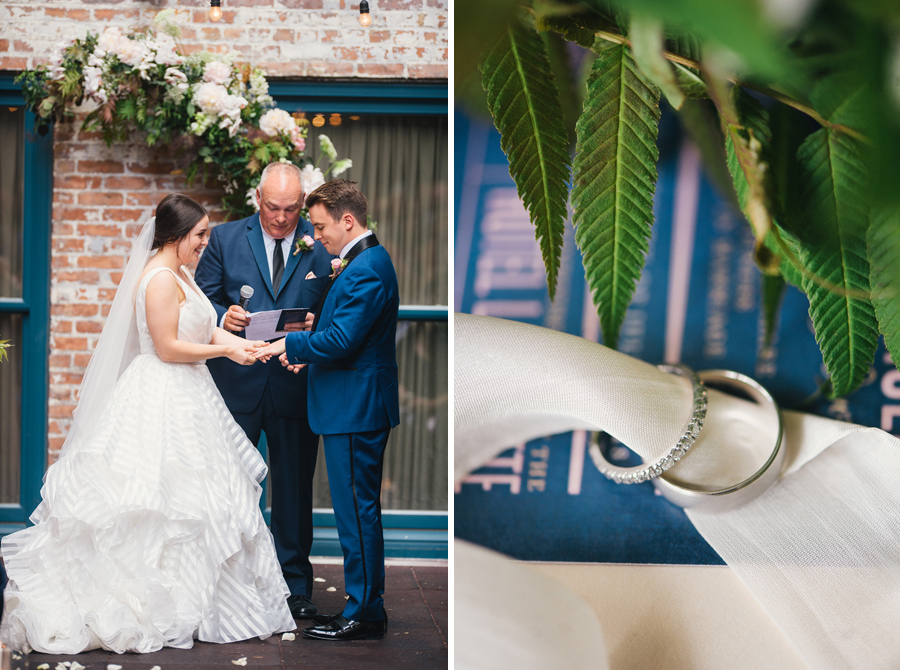 bride placing ring on groom's finger next to a detail shot of the wedding bands