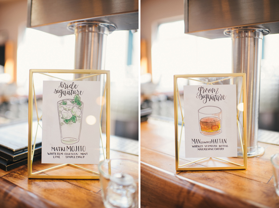 side by side shots of the signature drink signs at the bar during the wedding reception
