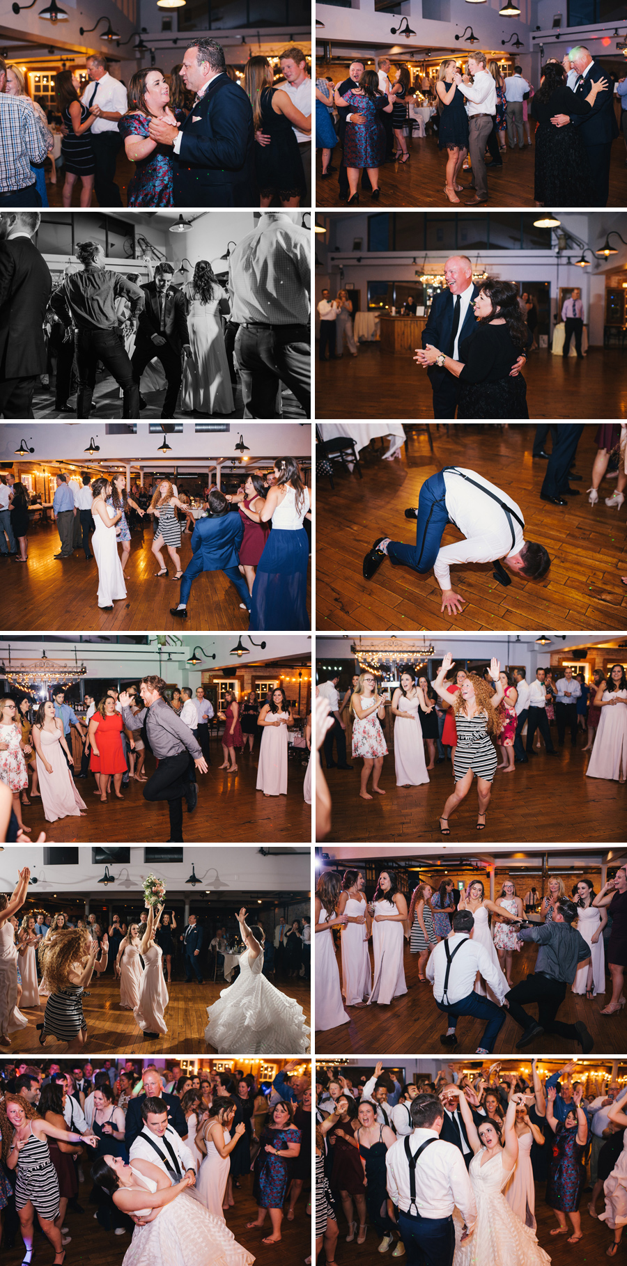 collage of photos from the wedding reception dance party at the Hotel at the Lafayette in Buffalo NY