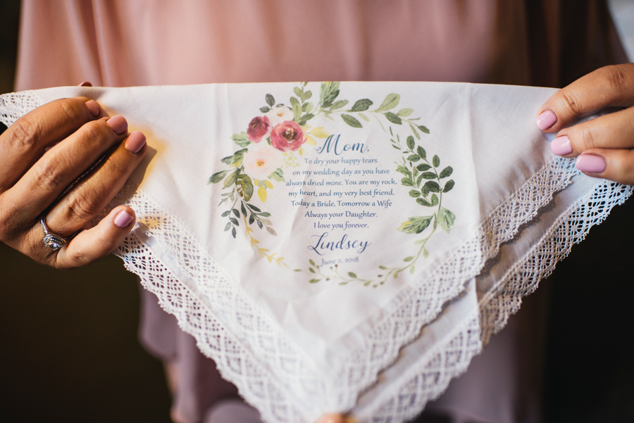 custom floral handkerchief with message gift for mother of the bride