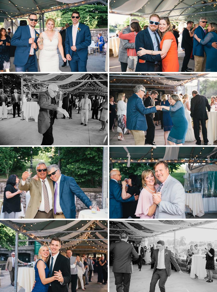 wedding guests having fun at the reception at marcy casino