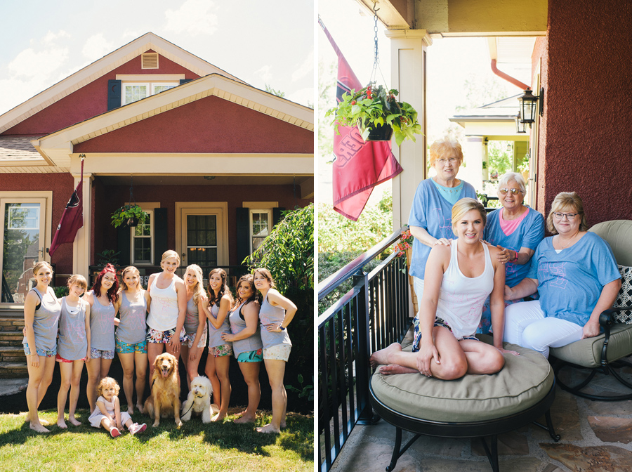 bride and bridal party in front of family home